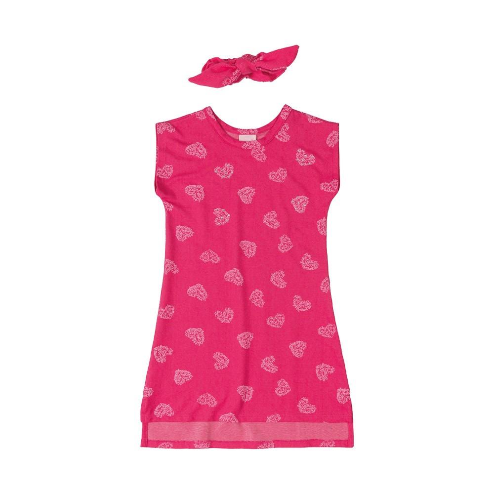 Vestido Quimby em Malha Jeans Rosa com amarrador de cabelo