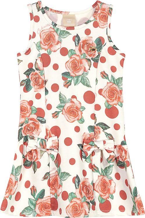 Vestido Rosas Creme