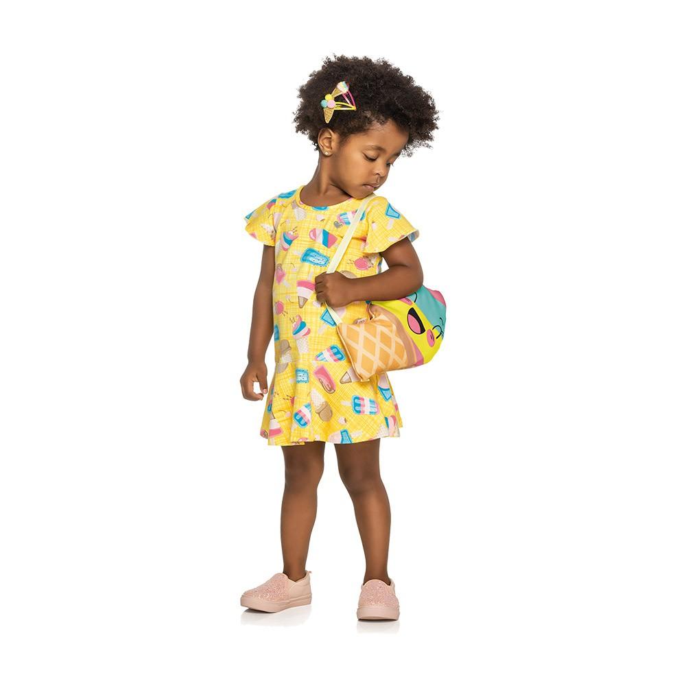 Vestido Sorvetinho Amarelo com Bolsinha