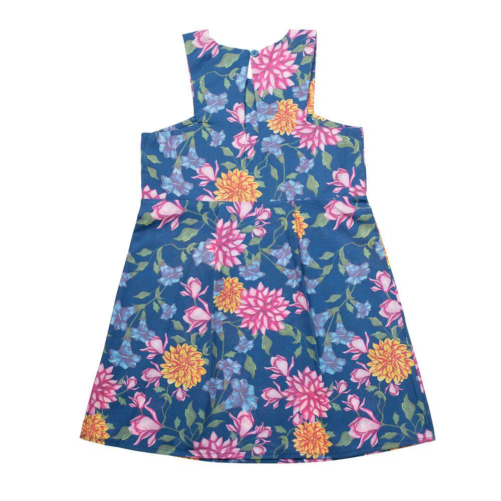 Vestido Tricoline Floral Azul