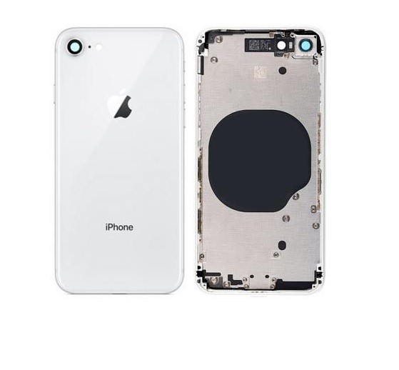 Carcaça Aro Chassi Tampa Traseira Apple Iphone 8 8G + Botões + Gaveta de Chip + Lente da Câmera Branco