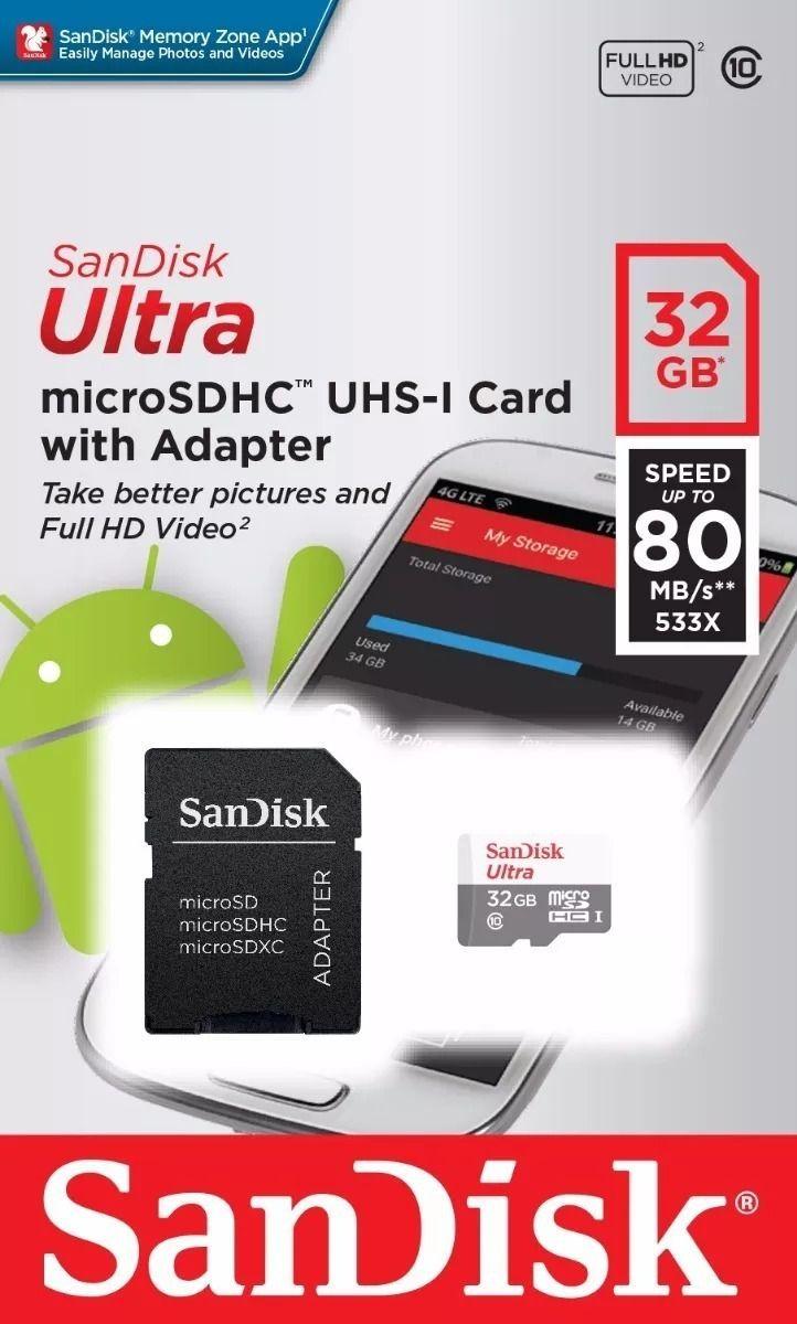 Cartão de Memória Micro SD SanDisk 32GB Classe 10 +  1 adaptador SD