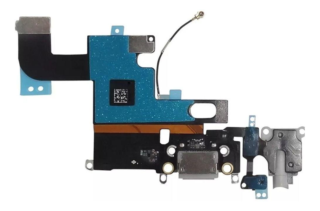 Conector Carga Cabo Flex Dock Microfone Iphone 6 6G A1549 A1589 A1586 Preto