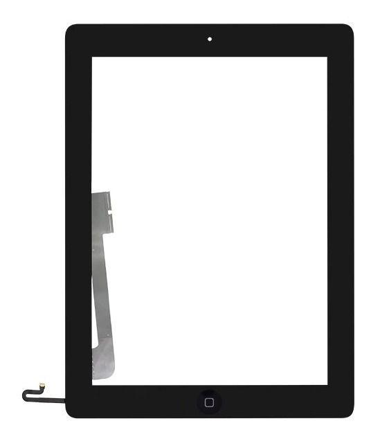 Tela Vidro Touch Screen Ipad 4 Botão Home E Adesivo Preto