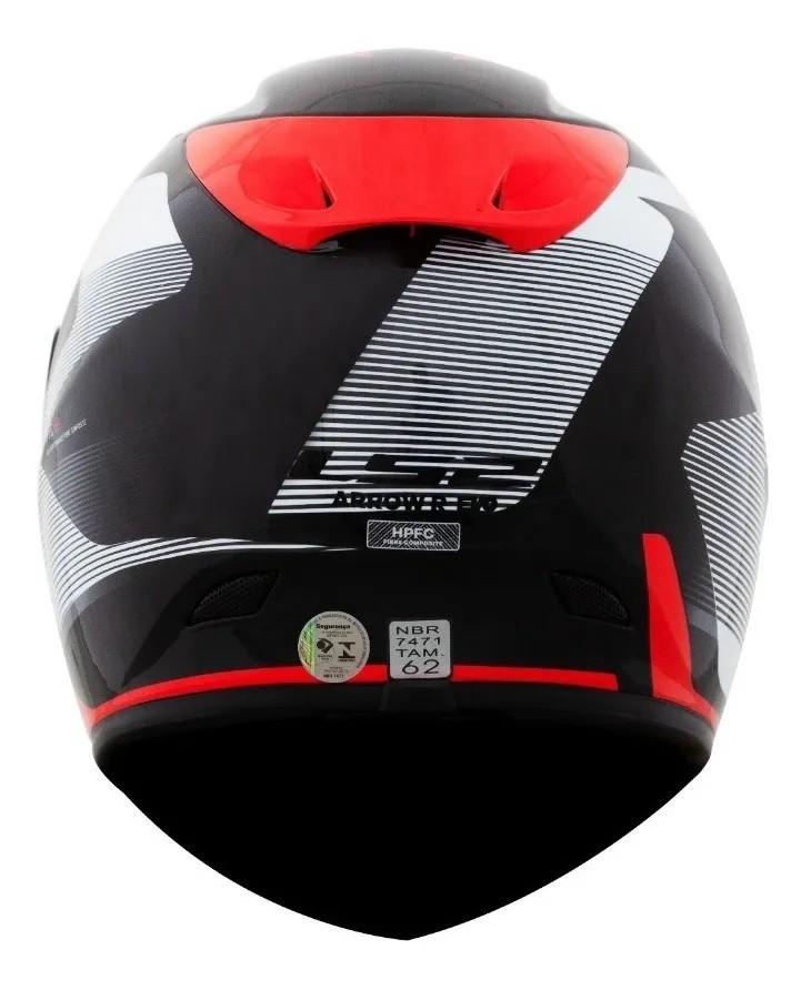 Capacete LS2 FF323 Arrow R Evo Compete Titanium Branco Vermelho