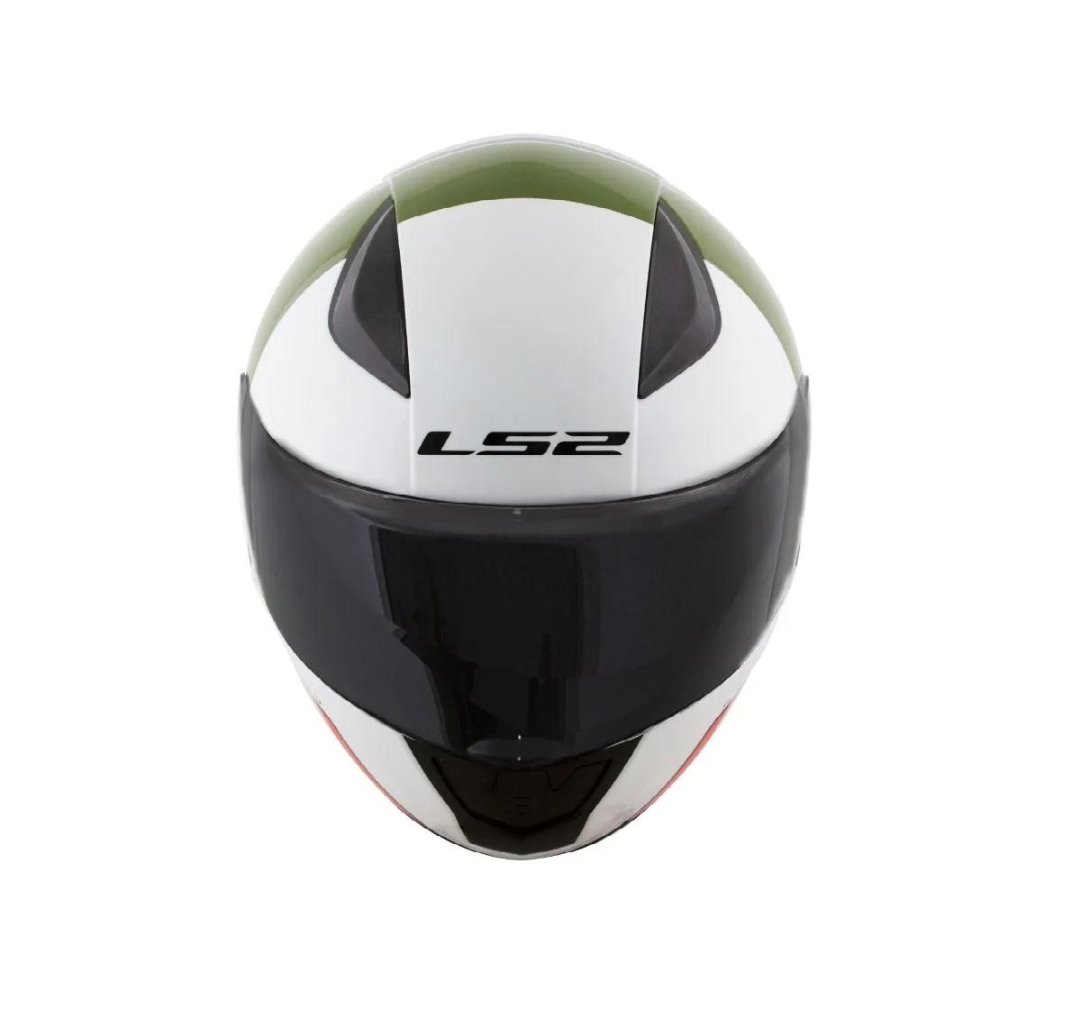 Capacete LS2 FF353 Multiply Branco Verde Vermelho