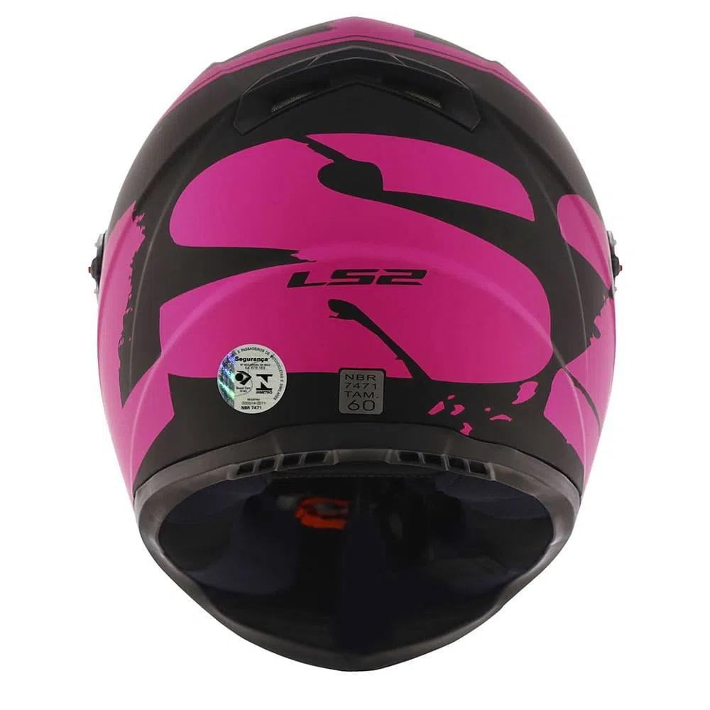 Capacete Ls2 FF358 Fluo Preto Fosco Rosa Fosco