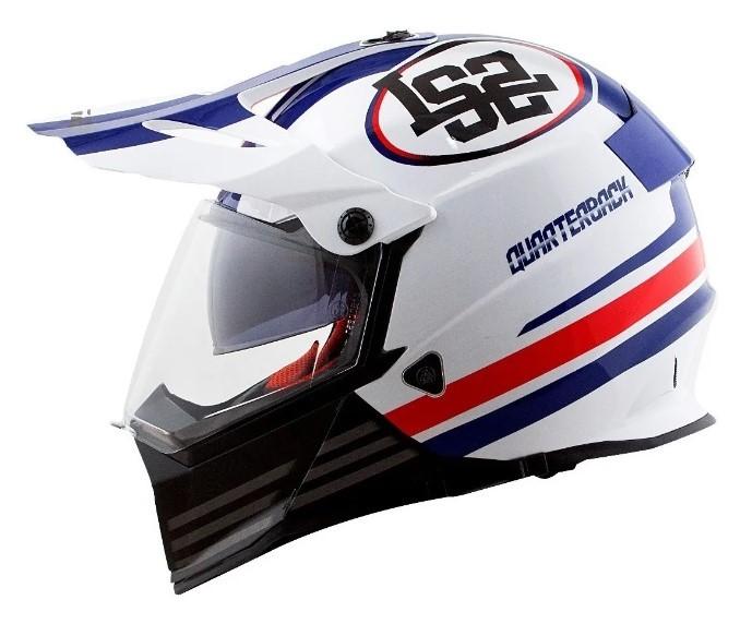 Capacete LS2 MX436 Pioneer Quarterback Bra Verm Az