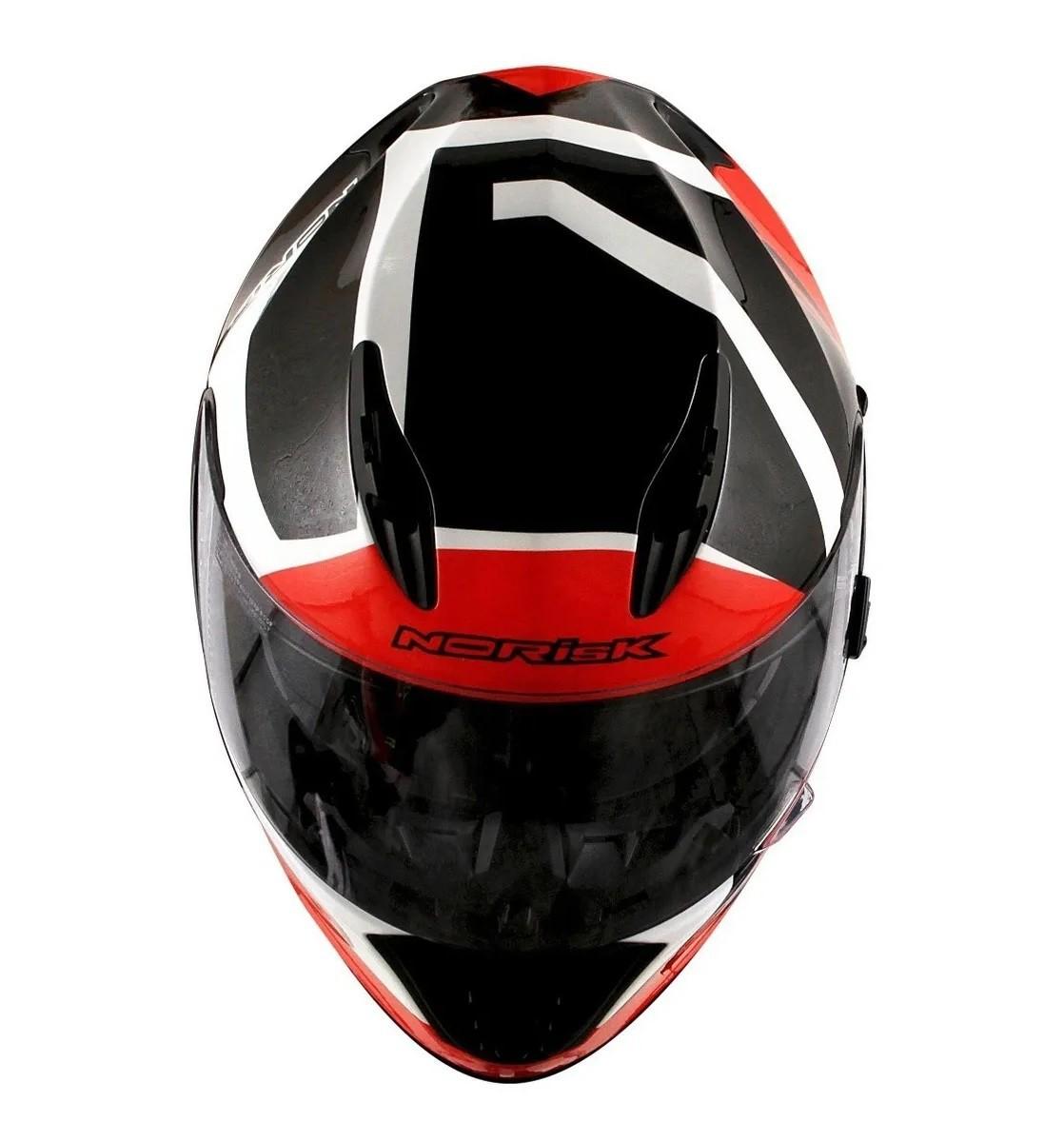 Capacete Norisk FF302 Ridic Preto Branco Vermelho
