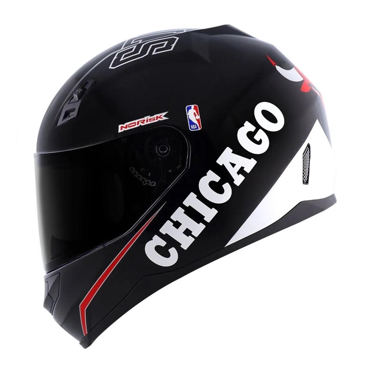 Capacete Norisk FF391 Chicago Bulls Preto Fosco