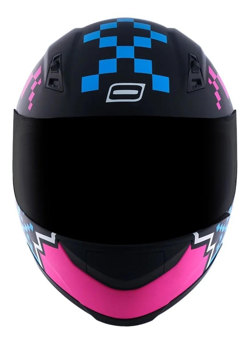 Capacete Norisk FF391 Pixel Preto Fosco Azul Rosa