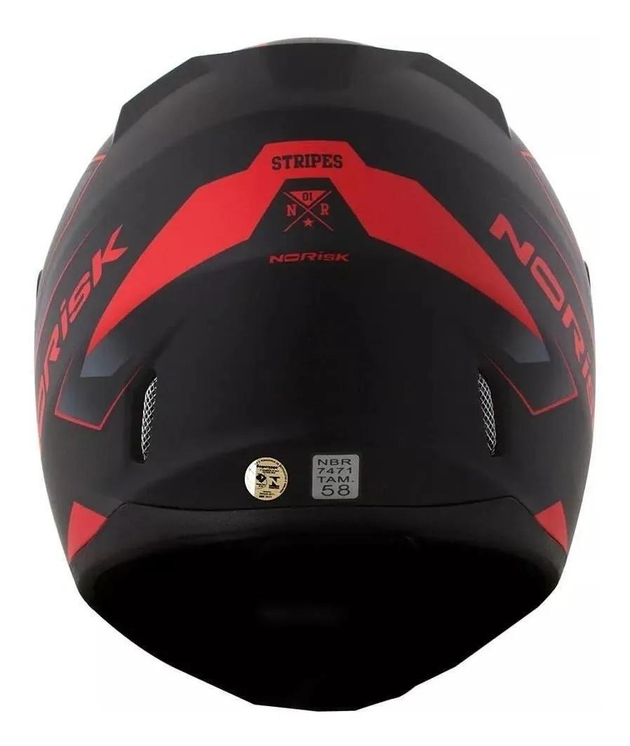 Capacete Norisk FF391 Stripes Preto Fosco Vermelho