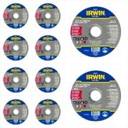 "KIT (10) DISCOS CORTE FINO METAL/INOX 4 1/2"" x 1mm x 7/8 IRWIN IW401451"