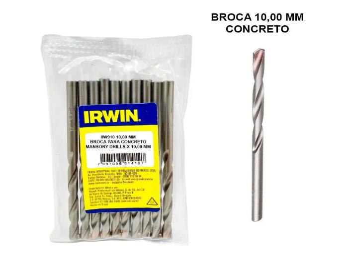 5 Broca Irwin Videa 10mm Concreto Iw910