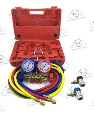 Conjunto Manifold Uso Automotivo Maleta Mang 180cm R134a