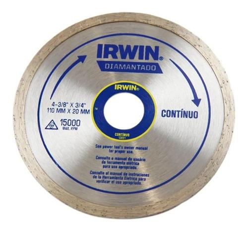 Disco Diamantado Contínuo 110x20mm Corte A Seco Irwin 13891