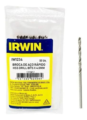 Kit 10 Broca Irwin Aco Rapido 4mm Metal Iw1234 Profissional