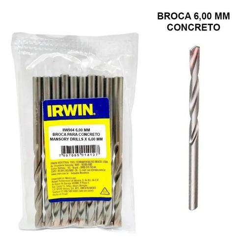 Kit 10 Broca Irwin Videa 6mm Concreto Iw904