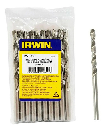 Kit 10 Brocas Irwin Aco Rapido 6.0mm Para Metal Iw1258