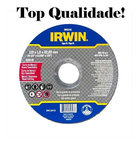 Kit 5 Disco Abrasivo Corte Fino 115mm 4.1/2x1mm Irwin 401451