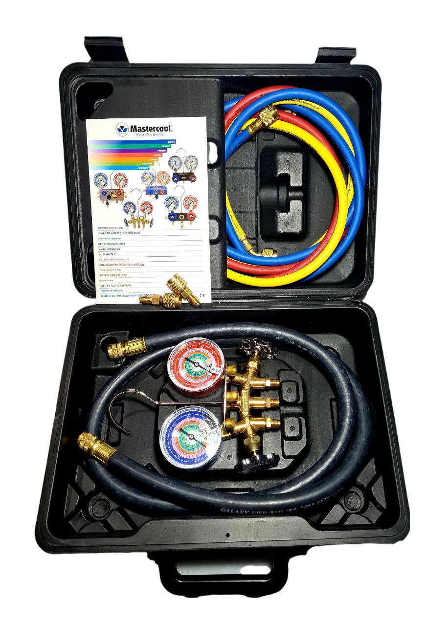 KIT MANIFOLD MASTERCOOL 36661-Ek R410a/r22/r404a/r407a, com maleta mangueira de vacuo e (3) adaptadores