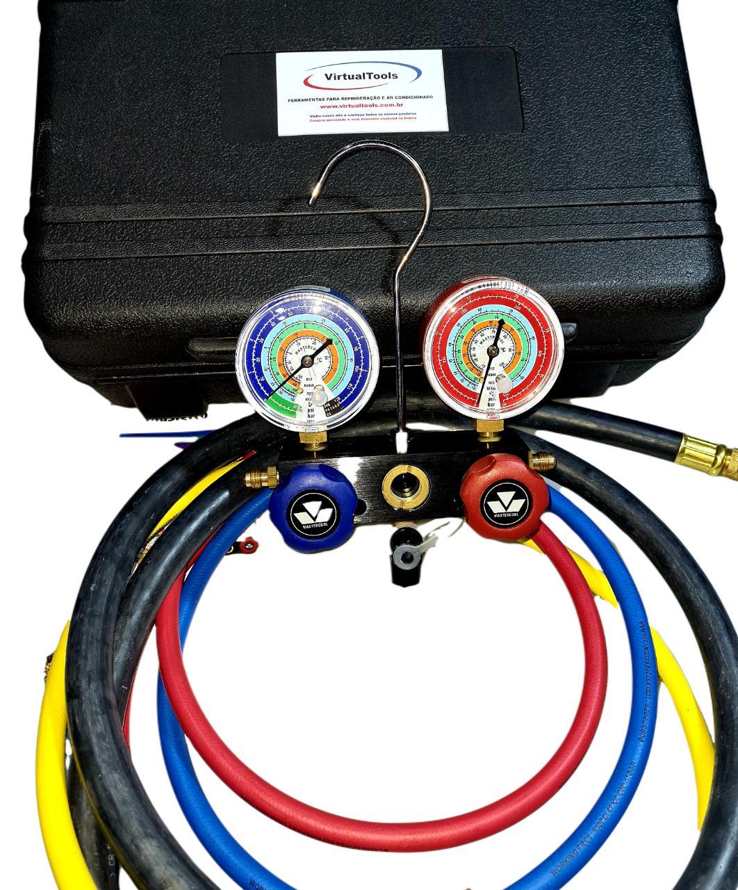 Kit Manifold Mastercool R12/R22/R134a/R404a 93636-MRk - com maleta e mangueira de vácuo