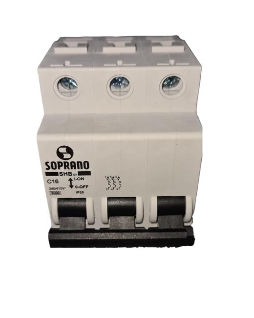 Mini Disjuntores Shb 3p X 16a Código: 20003.1750.32 Soprano - 3 C16