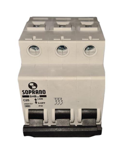 Mini Disjuntores Shb 3p X 25a Código: 20003.1750.34 Soprano - 3 C25