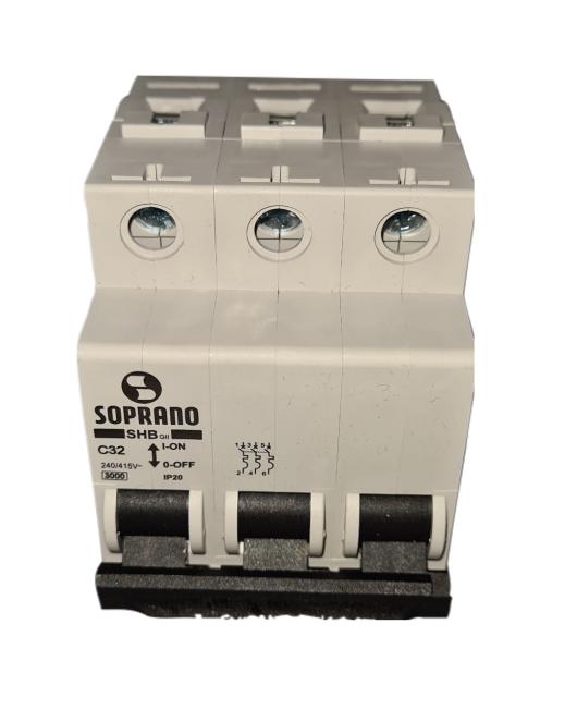Mini Disjuntores Shb 3p X 32a Código: 20003.1750.35 Soprano - 3 C32