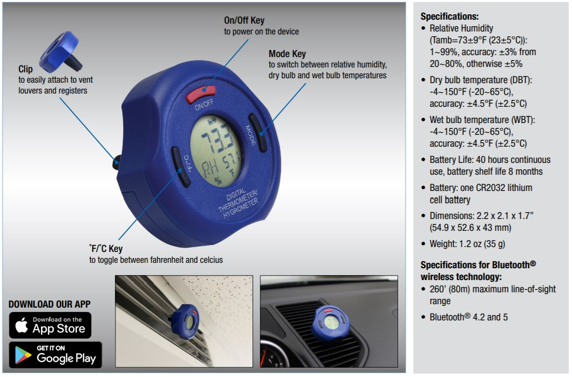 Termômetro Higrômetro Dig S/ Fio Bluetooth Mastercool 52234