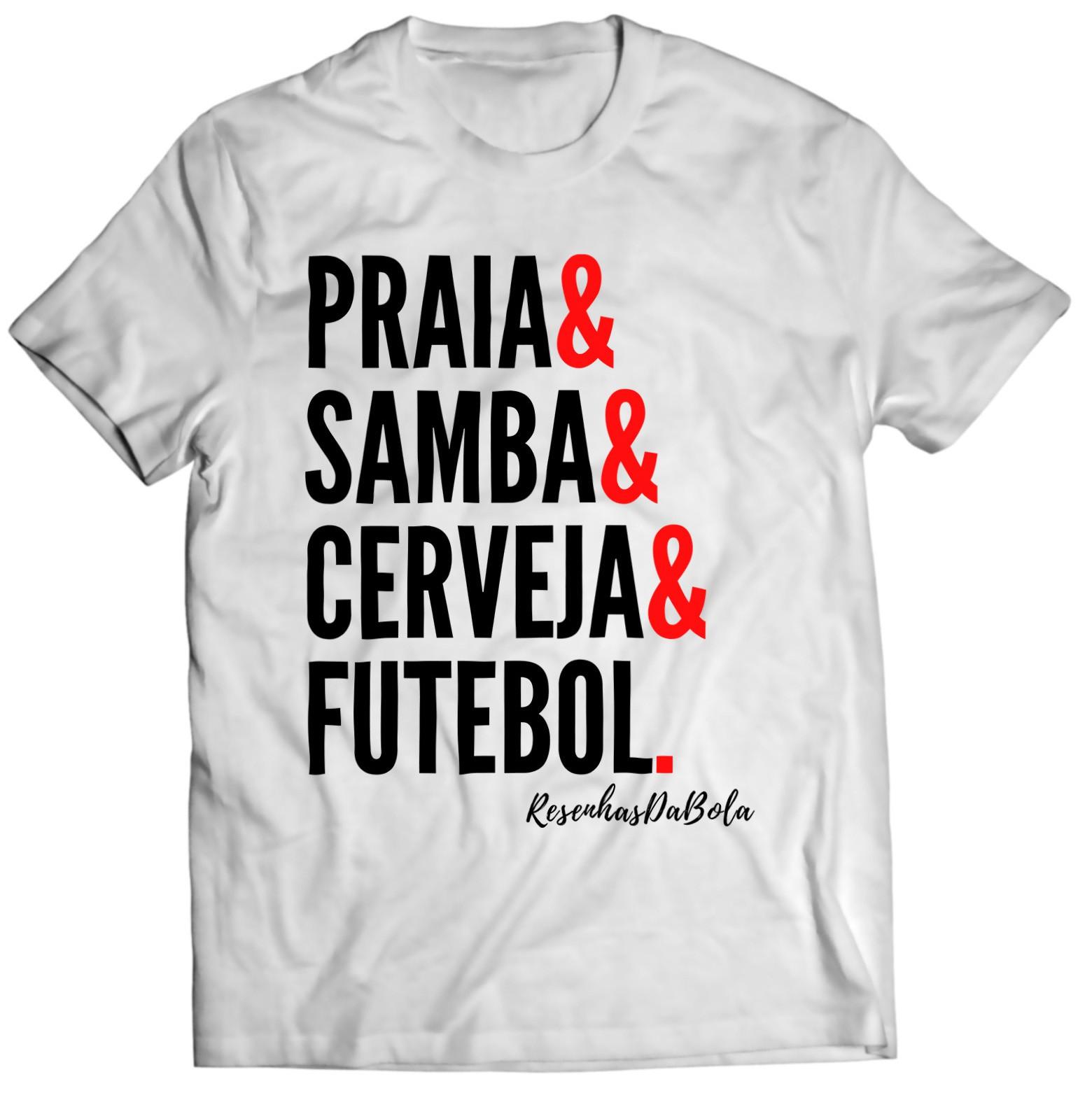 Camiseta - PRAIA, SAMBA, CERVEJA E FUTEBOL - Masculino