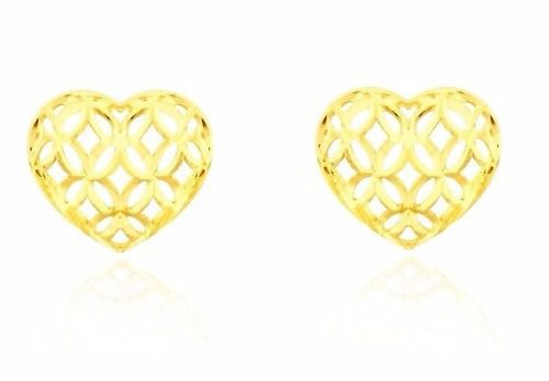 731a859ad042d Brinco De Ouro 18k Coração Vazado Em Flores - Viagold U21