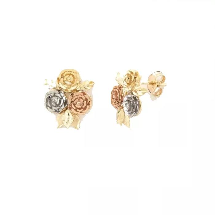ccc258b5ed79b Brinco De Ouro 18k 3 Rosas Flor Tricolor - Viagold O39 - VIAGOLD JOIAS ...