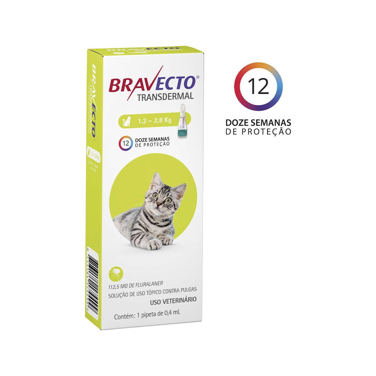 ANTIPULGAS BRAVECTO TRANSDERMAL PARA GATOS DE 1,2 A 2,8KG