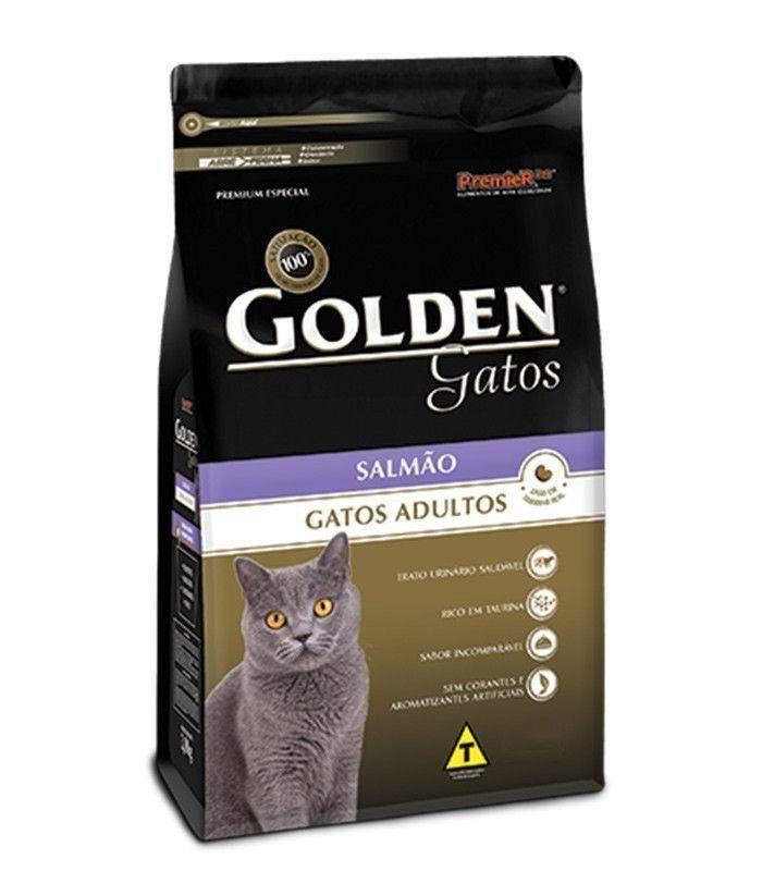 RAÇÃO GOLDEN GATOS ADULTOS CASTRADOS SALMÃO - 10KG