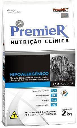 RAÇÃO PREMIER  NUTRIÇÃO CLINICA CAES HIPOALERGENICOS  2 KG