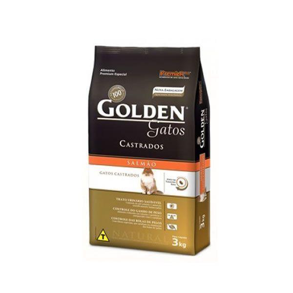 RAÇÃO GOLDEN GATOS ADULTOS CASTRADOS SALMÃO - 3,3KG