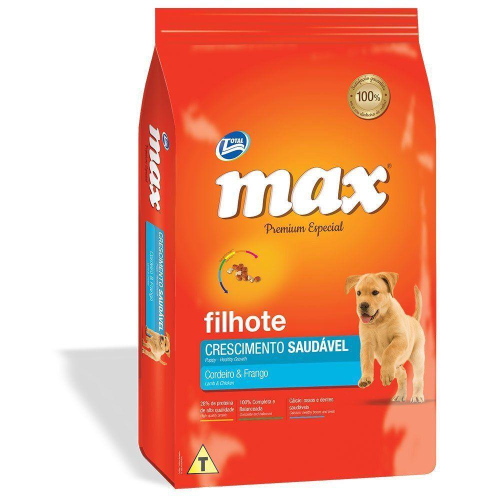 RAÇÃO MAX CÃES CRESCIMENTO SAUDÁVEL FILHOTES CORDEIRO E FRANGO - 10,1kg