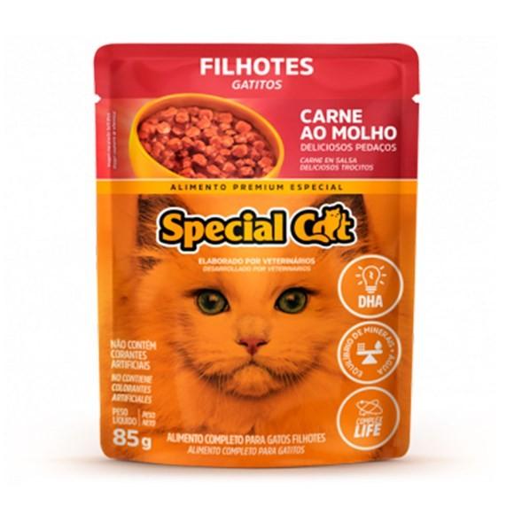 SACHÊ RAÇÃO ÚMIDA DE CARNE SPECIAL CAT FILHOTE 85GR