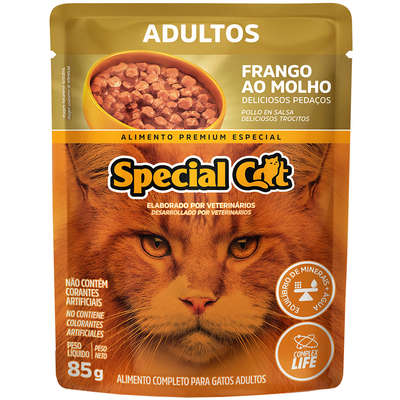 SACHÊ RAÇÃO ÚMIDA DE FRANGO PARA GATOS SPECIAL CAT 85g
