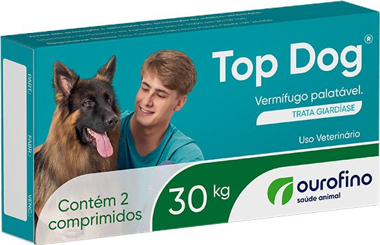 VERMÍFUGO TOP DOG 30kg - 2 comprimidos