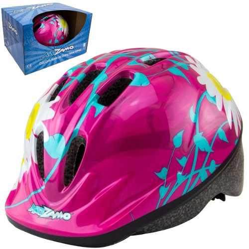 Capacete Ciclismo Infantil Kz-008 Flores Rosa Bike