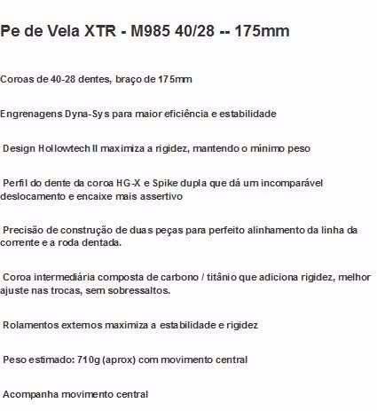 Pedivela Shimano M985 Deore Xtr 28/40 175mm