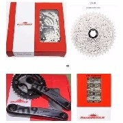 Kit Sunrace Cassete 10v + Pedivela + Coroa 22/36t + Corrente