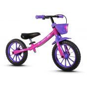 Bicicleta Infantil Aro 12 Sem Pedal Balance Bike Nathor Roxo