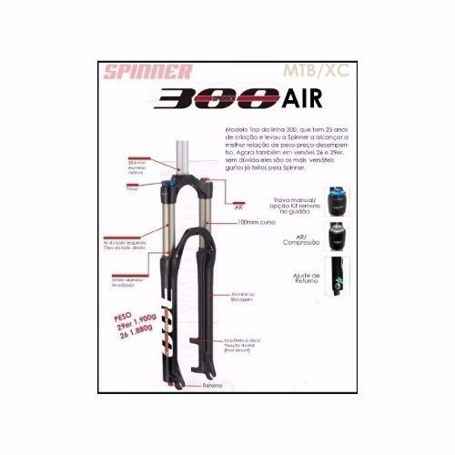 Suspensão Ar 29er Spinner 300 Com Trava Aluminio