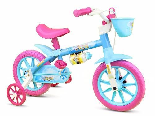 Bicicleta Infantil Menina Aqua Aro 12 Com Cesta