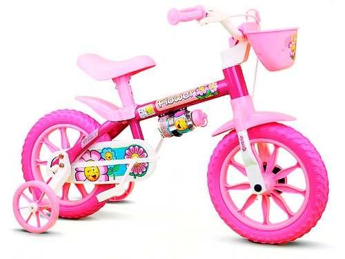 Bicicleta Infantil Nathor Aro 12 Feminina Flower Com Cesta