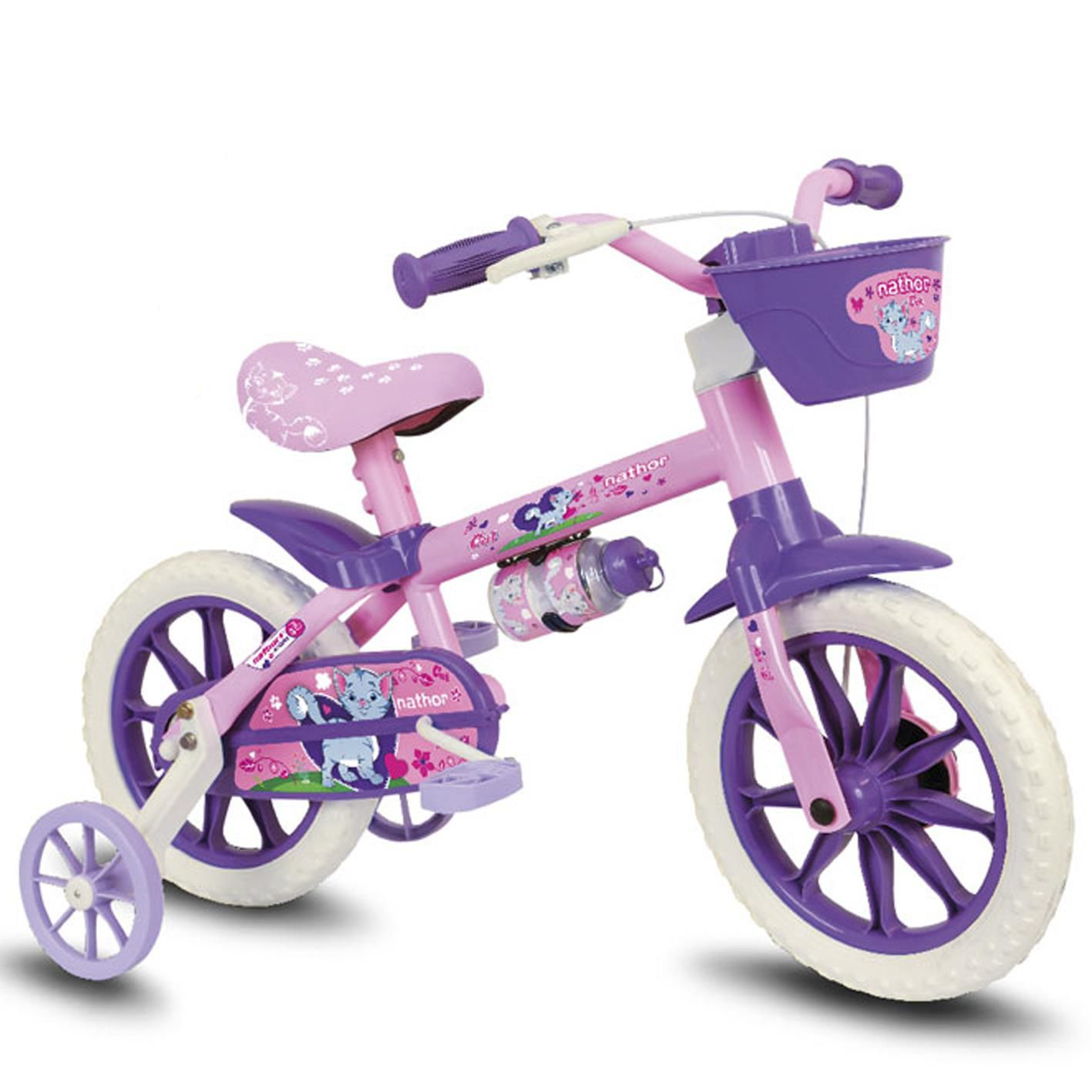 Bicicleta Infantil Nathor Aro 12 Feminina Cat Rosa C/ Cesta