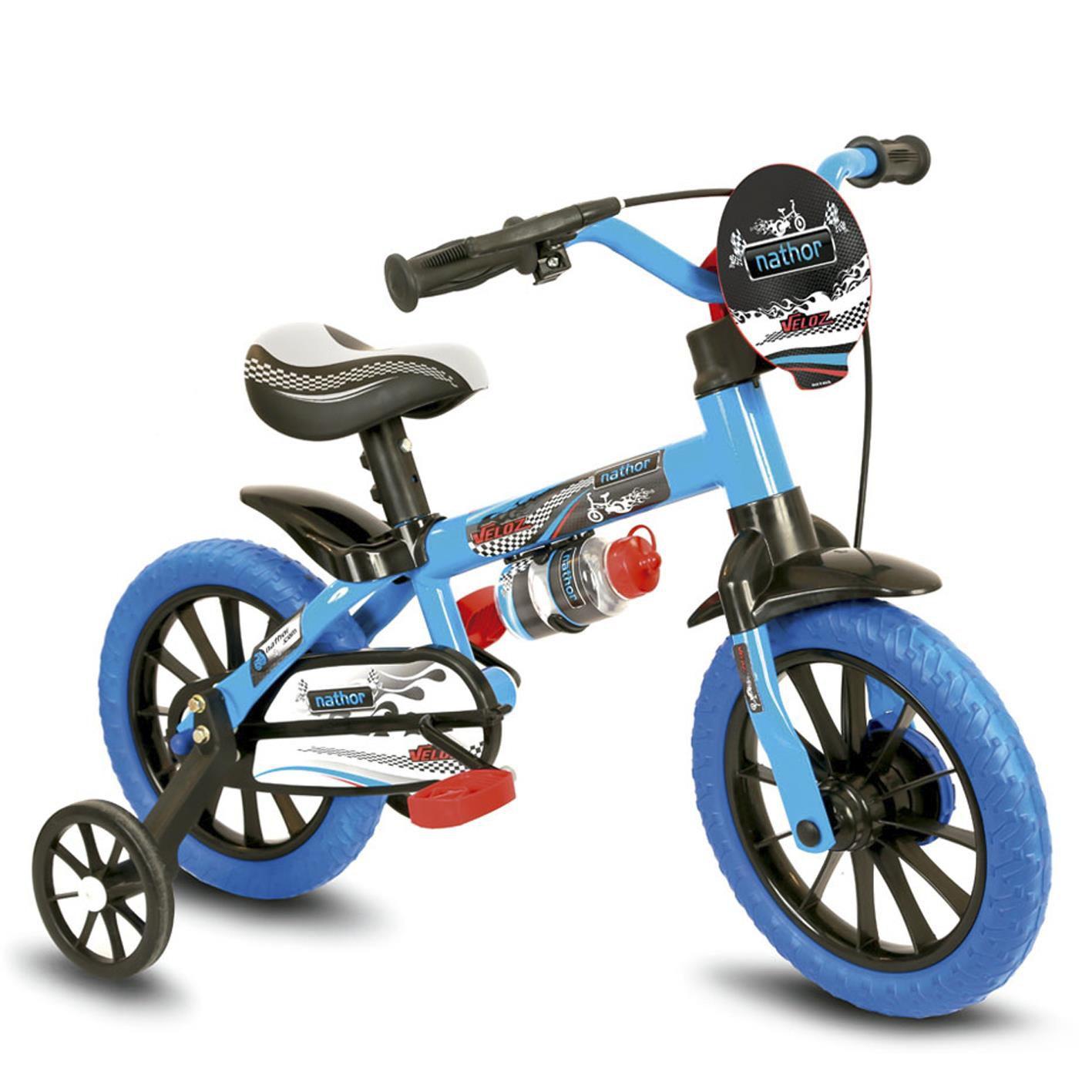 Bicicleta Infantil Nathor Aro 12 Preta E Azul Menino